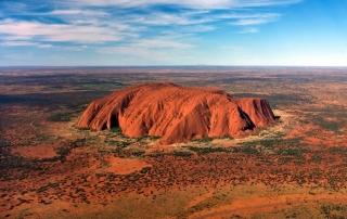 Uluru, Ayers Rock, helicopter over Uluru